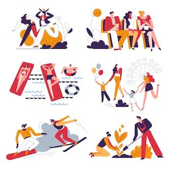 Family patime s, outdoor activities, parents and children