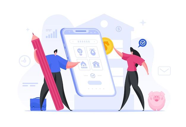 Семья оплачивает коммунальные услуги через онлайн-приложение в виде смартфона. мужской персонаж набирает необходимые учетные записи женщина переводит деньги через интернет на личный счет смартфона