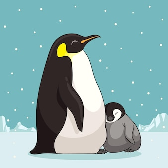 Family of penguins in cartoon style illustration