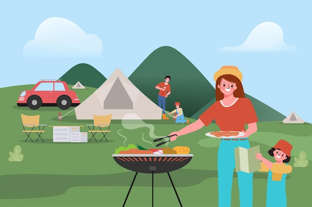 Family people are camping outdoor traveling concept.