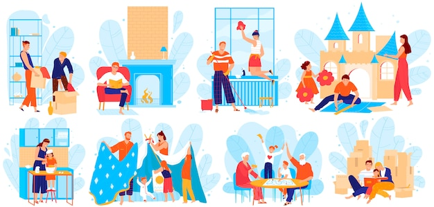 家のイラストセットで家族の人々、漫画の父、母と子供たちのキャラクターは白で一緒に時間を過ごす