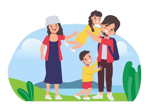 Семья люди рюкзак на открытом воздухе путешествия концепция