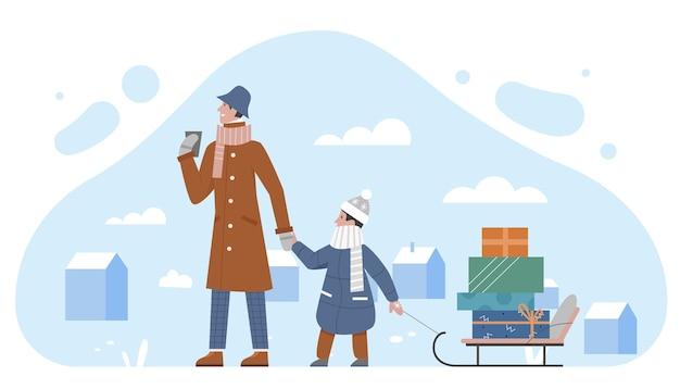 Семейные люди несут сани с подарком коробки рождественских праздников