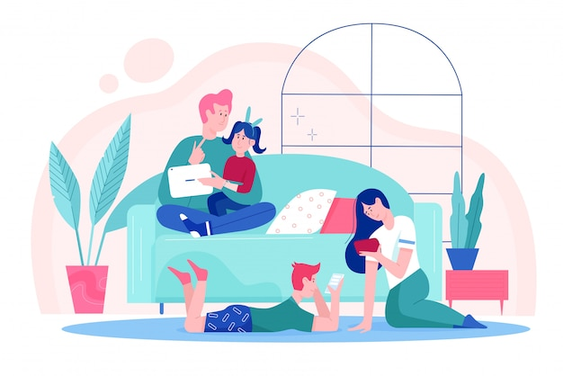 Family people at home illustration, cartoon happy father, mother and children using tablet, smartphone gadgets for social media activity