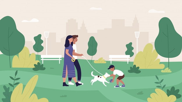 夏の都市公園のイラスト、漫画の母、父と息子のキャラクターの家族の人々の歩行と緑豊かな公園の風景の中のペットの犬と遊ぶ