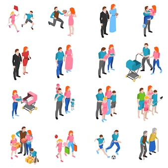 Family people isometric icons set