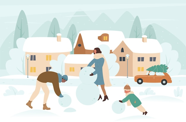 Family people making snowman in christmas winter holiday  illustration.