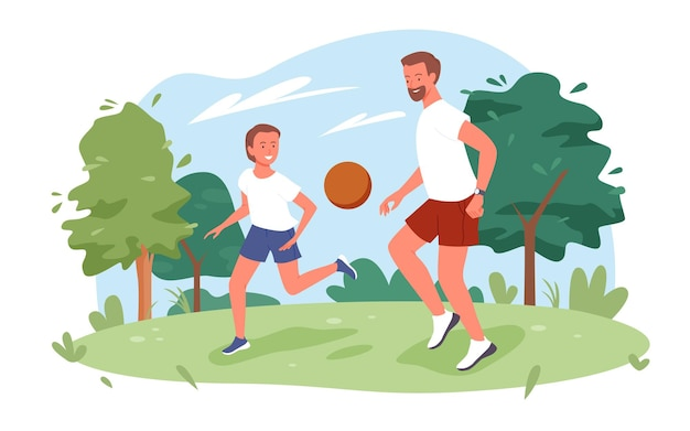 Семейные люди играют в мяч в городском парке летом природы векторные иллюстрации. спортивный отец и сын