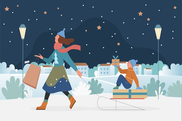 Family people sledding, christmas outdoor activity illustration.