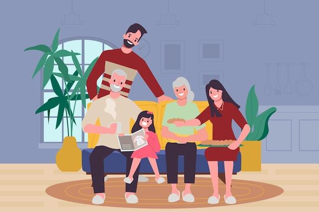 家族の人々は恋人や両親と一緒に家にいます。