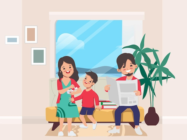 Family people stay at home with lovers and parents