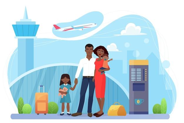가족 사람들은 공항 터미널에 서 있는 항공 운송 승객을 여행합니다.