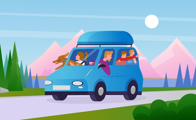 Family people travel in car travelers father mother children and dog ride in vehicle