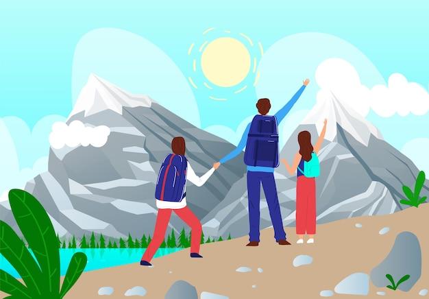 家族の人々は山の図に旅行します。