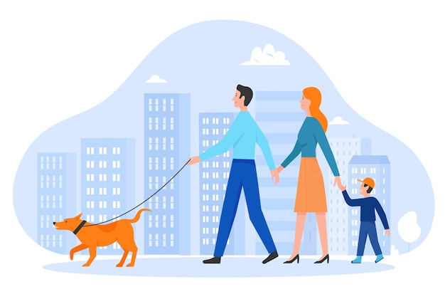 Family people walk  illustration.