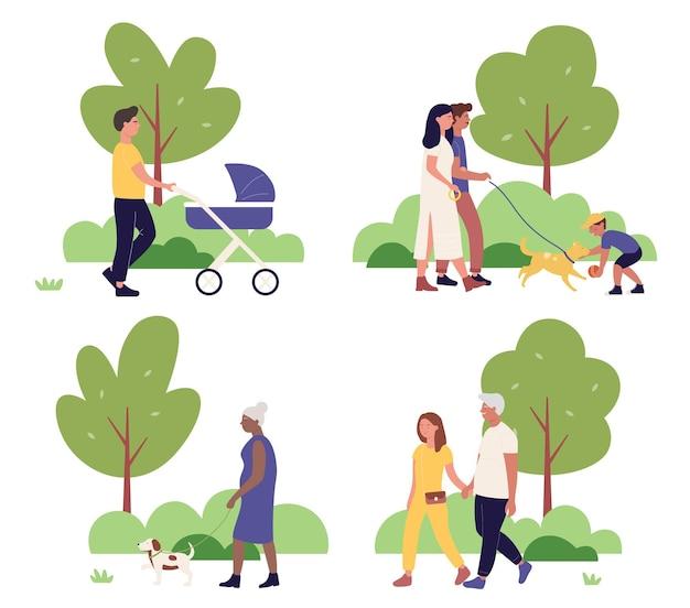 一緒に都市公園を歩いている家族の人々がセット、漫画の街並みサマーパークシーン