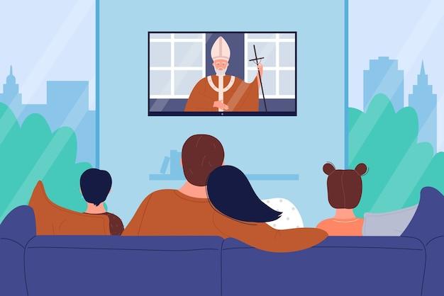 家族は教会の宗教のテレビニュース、漫画の母の父とソファに座っている子供たちを見ます