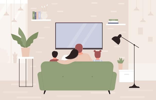 집에서 함께 tv를 시청하는 가족 사람들