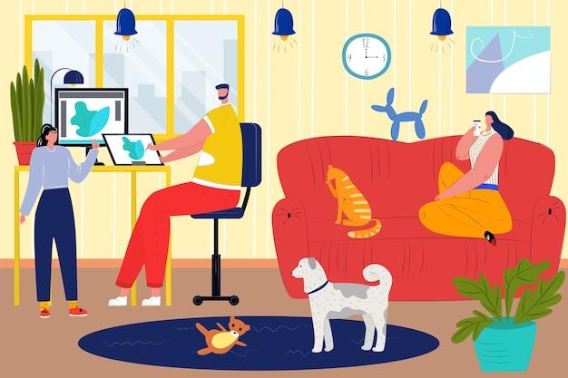 만화 장면에서 함께 가족 사람
