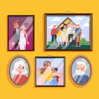 Family photo in frame hanging on the wall set