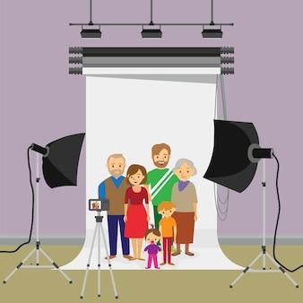 Family photo in studio