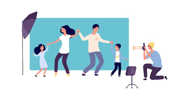 Family photo session. professional photographer with camera and parents with children in studio. portrait of happy man woman kids vector illustration. family photographing shoot, photograph in studio