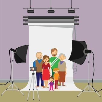 Family photo in studio