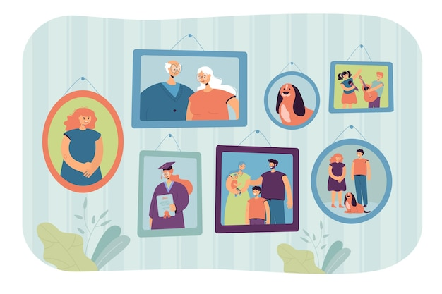 Family photos in frames illustration