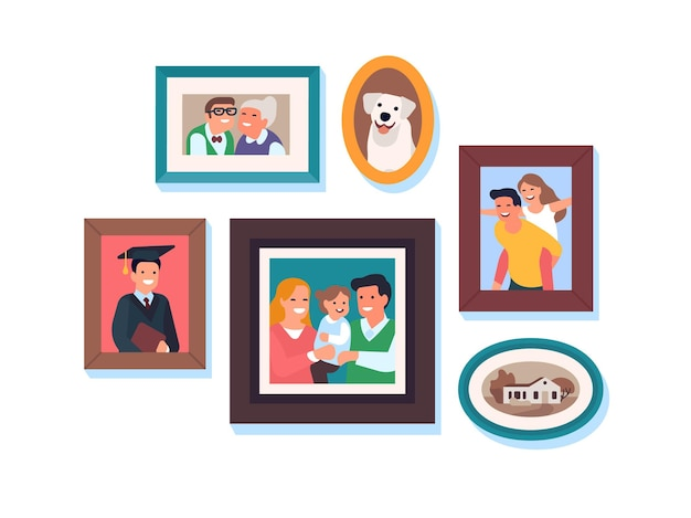 Family photos. kids and parents framed portraits, happy relatives, moms and dads, grandparents, son and daughter, lives moments. vector set
