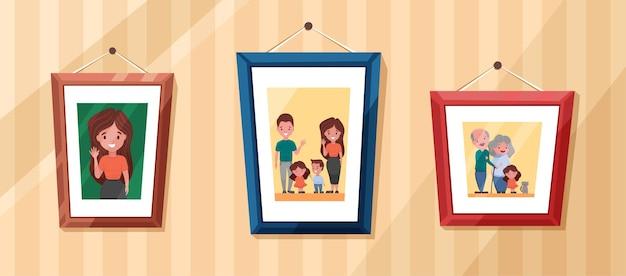 両親と子供の肖像画をフレームに収めた家族写真祖父母との思い出の写真