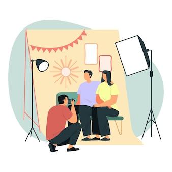 ソフトボックスライトとフレームを使用した家族の写真撮影
