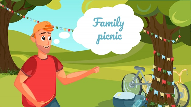 Family picnic banner cartoon man countryside tree