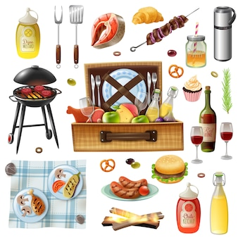 Family picnic barbecue realistic icons set