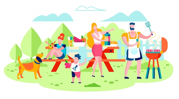 Family picnic, barbeque party flat vector concept