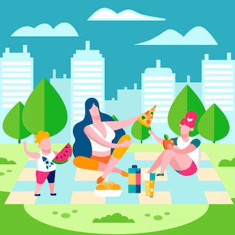 Family picnic countryside flat vector illustration