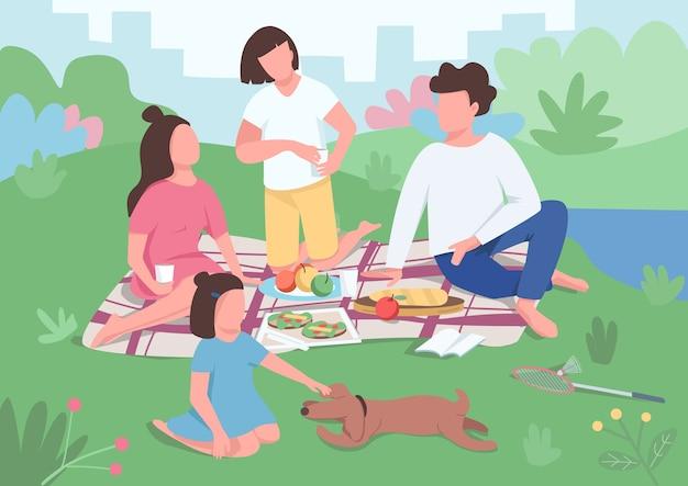 가족 피크닉 평면 색상. 자녀가있는 부모는 공원에서 저녁 식사를합니다. 엄마와 아빠는 담요에 앉아 있습니다. 강아지와 아이 놀이. 배경에 인테리어와 친척 2d 만화 캐릭터