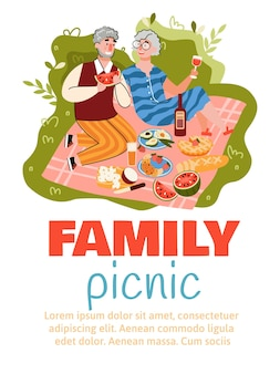 Family picnic flyer or banner with senior couple isolated.