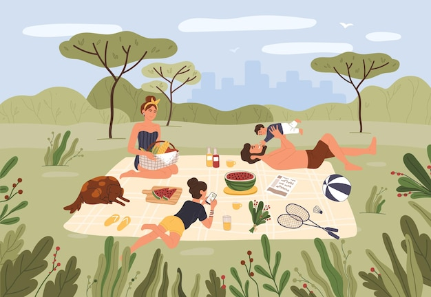 가족 피크닉 행복한 부모와 아이들은 함께 시간을 보내고 도시 공원에서 휴식을 취합니다.