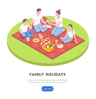 家族のピクニック等角図 Premiumベクター