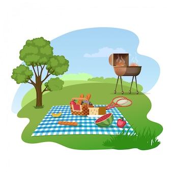 Семейный пикник на лугу мультяшный векторный концепт