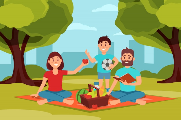 Family on picnic in park. parents sitting on blanket, kid holding ball. green trees, bushes and city buildings on background. flat   design