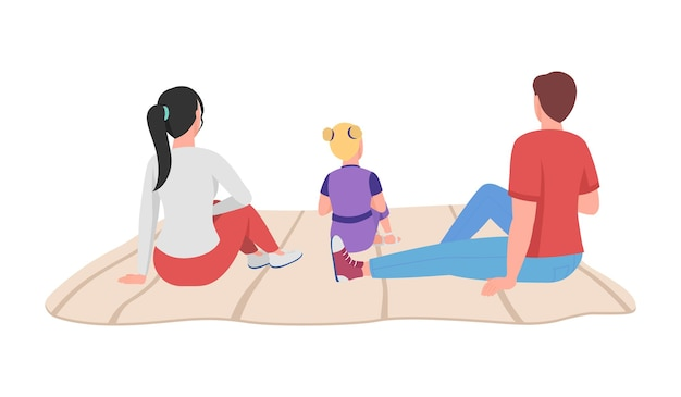 Family on picnic semi flat color vector characters