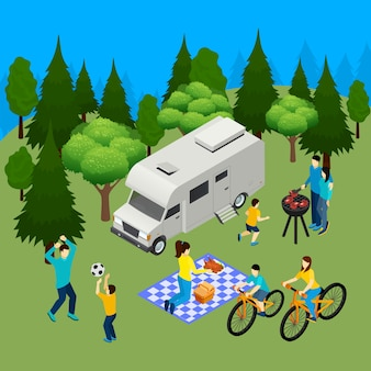 Семейный пикник летом на открытом воздухе изометрической композиции с кемпер в лесу барбекю обед на велосипеде, играя мячом векторная иллюстрация