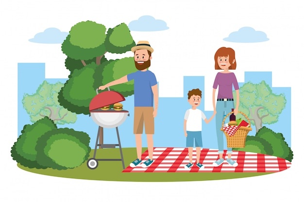 Family on picnic