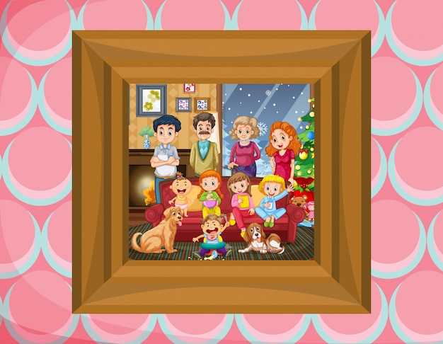 Family in picture frame