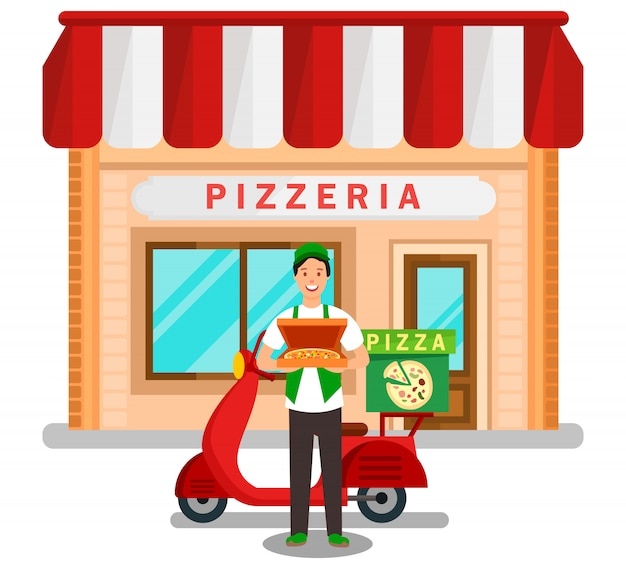Family pizzeria delivery service flat illustration