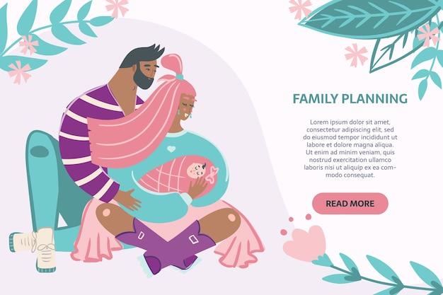 가족 계획 배너. 남자와 여자 포옹 아이