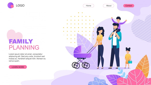 Family planning cartoon landing page template