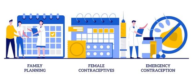 가족 계획, 여성 피임약, 작은 사람들과의 응급 피임 개념. 아동 피임, 임신 예방, 예방은 추상적 벡터 일러스트레이션 세트를 의미합니다. 프리미엄 벡터