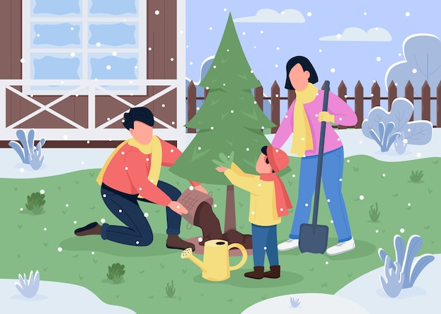 Family plant tree semi flat illustration. winter activity for mother, father and son